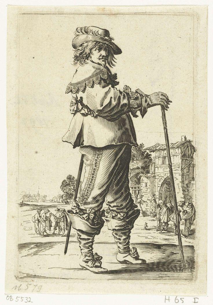 Staande officier met wandelstok, van opzij gezien, Salomon Savery, Pieter Jansz. Quast, 1630 - 1665