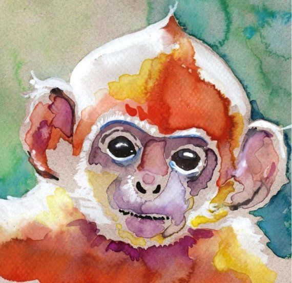 Monkey Watercolor Painting Print Artist Signed By