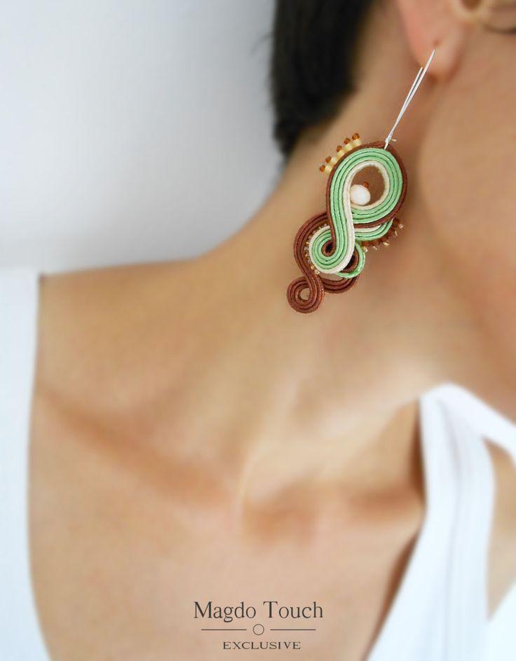 OOAK soutache earrings dangle earrings gift idea for her favorite jewelry cute gift romantic earrings creme brown earrings fallfashion by MagdoTouch on Etsy