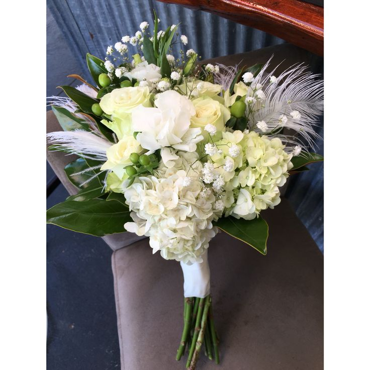 Bouquet for the Geelong Brides Wedding Expo - Bridal House Fashion Show❤️❤️ - Bettie Bee Blooms. White hydrangea, white roses, white Lisianthus, baby's breath, magnolia.