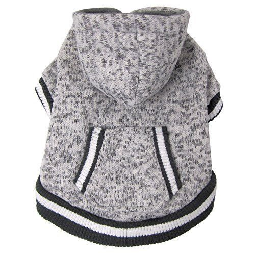 FouFou Dog 62580 Heritage Knit Hoodies for Dogs, Medium, Heather Gray