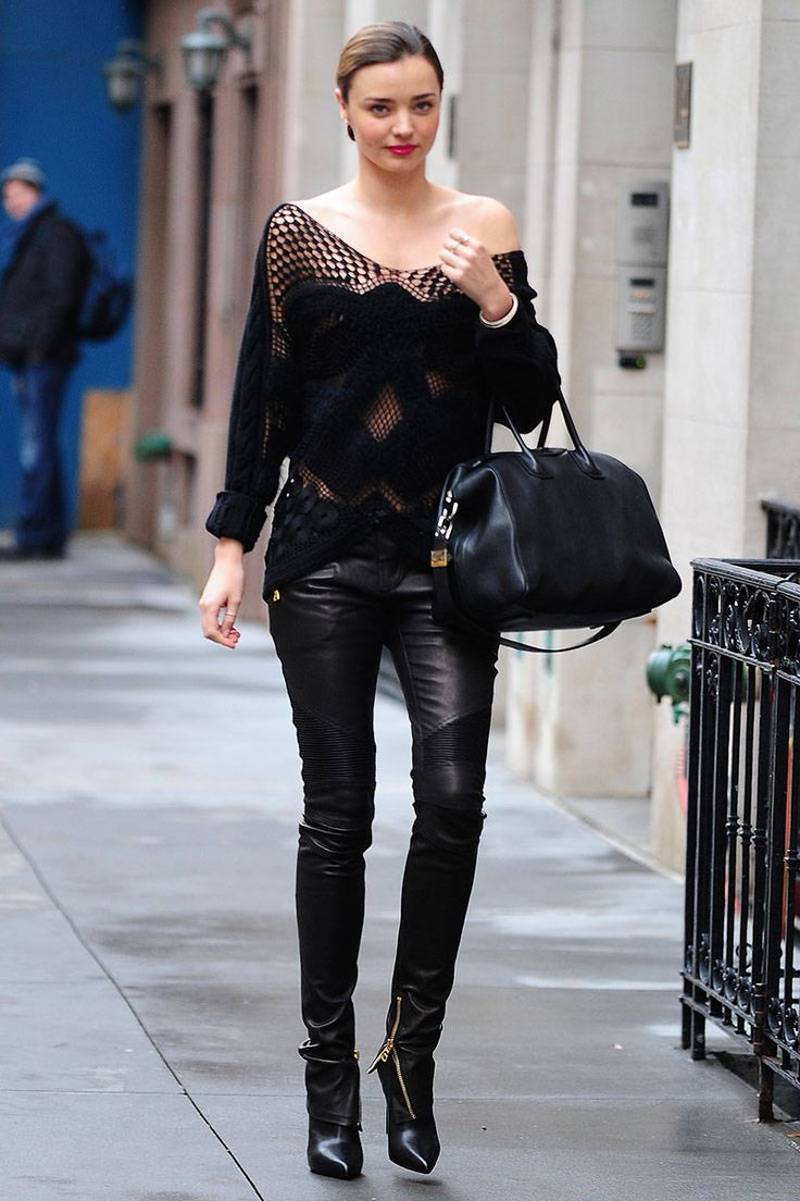 The Best Celebrity Winter Street Style | Wearing all black ...