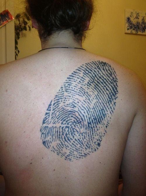 #tattoos #tattoo  http://www.tattooswomen.com/ Amazing Back Thumbprint Tattoo for Women