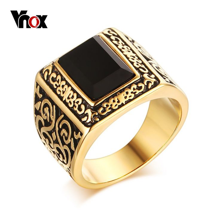 Vnox Fashion  Gold Plated Men Engagement Rings Stainless Steel Black Agate Personalized Wedding Rings for Men Jewelry