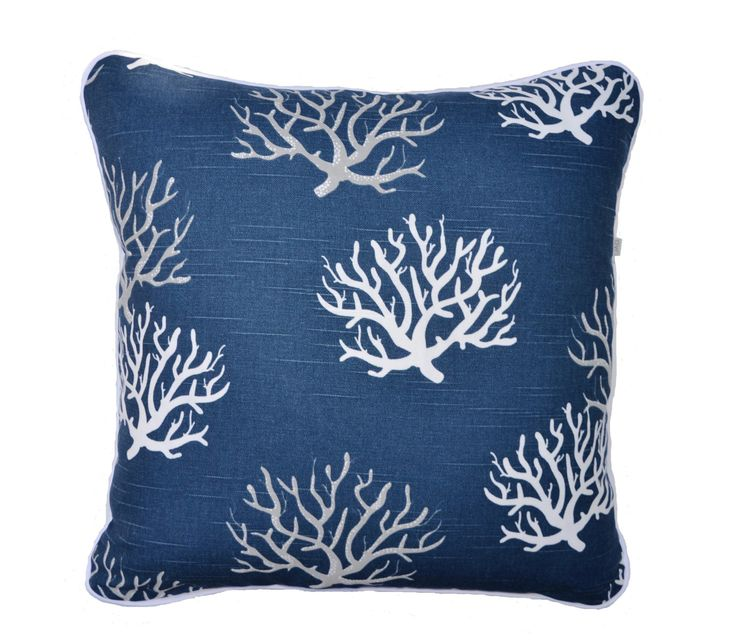 Coastal Cushion . Coral . Ocean Theme .  Navy Grey and White . Cotton . Hamptons Style . Pillow with Coral Design by JulieAlvesDesigns on Etsy