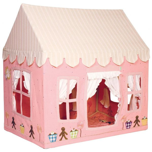 Our Gingerbread Cottage is a magical backdrop for imaginative tales and make-believe play! Gentle pink cotton fabric is embroidered and appliqued with gingerbre