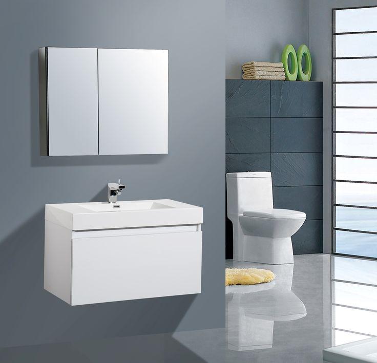 Aqua Decor Venice 36 Inch Modern Bathroom Vanity Set W Medicine Cabinet White