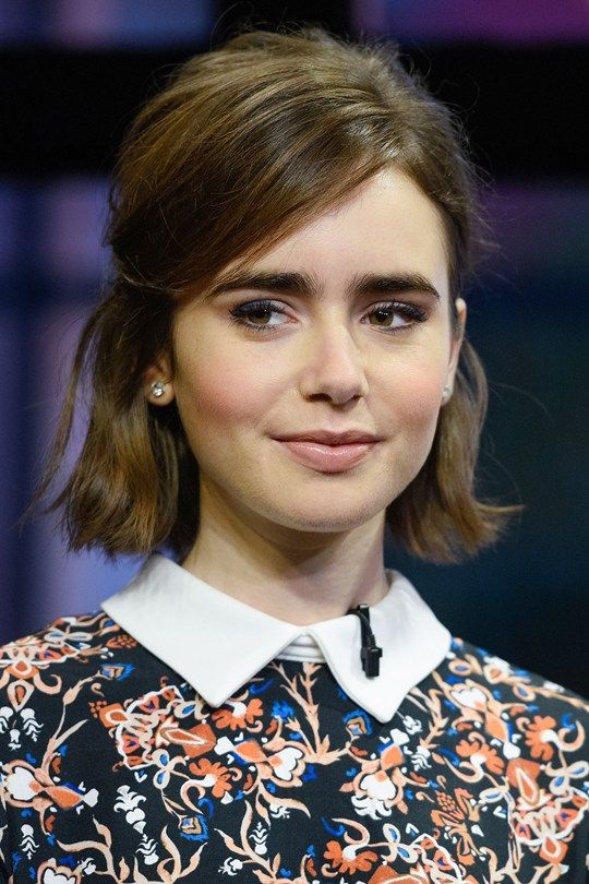 Lily Collins, Bob Haircut with side parted hair, short bob hairstyles, celebrity bob haircut