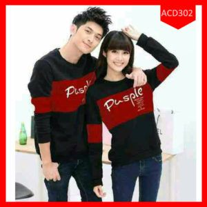 Fashion Sweater Couple Pusple Rainbow  Terbaru