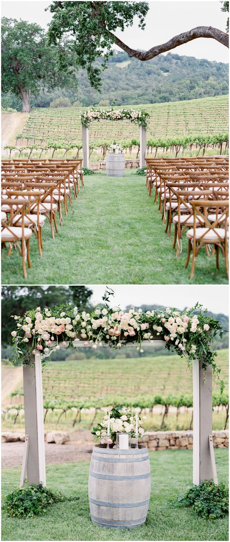 California vineyard wedding ceremony, white and pastel pink florals, romantic wedding arbor, wine barrel, wooden cross-back ceremony chairs // Rachel Solomon