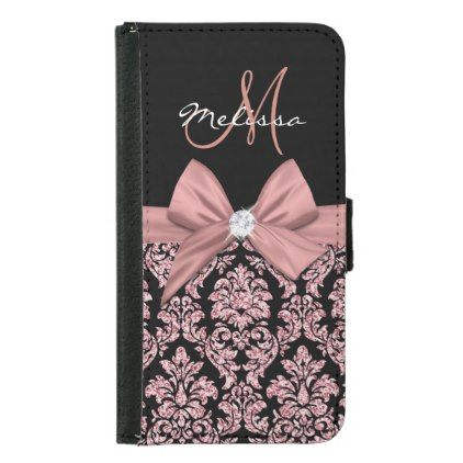 Rose gold glitter Black Damask Bow Diamond Wallet Phone Case For Samsung Galaxy S5 - rose gold style stylish diy idea custom