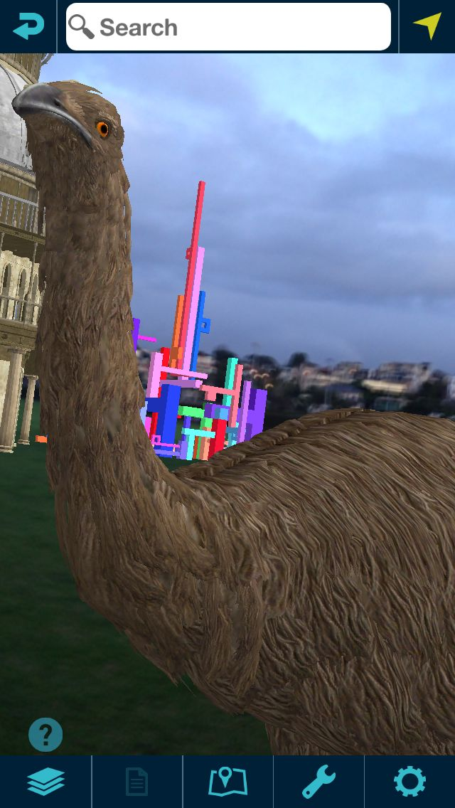 An early Moa test in the Augview virtual test park. In the background you can see the colourful sculpture from artist Shannon Novak.