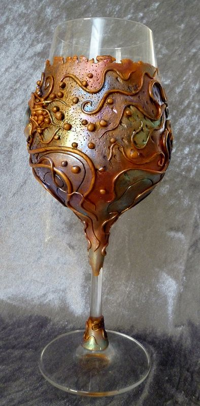Melody Tallon Watch What You Drink  Creepy polymer clay decorated wine glass.