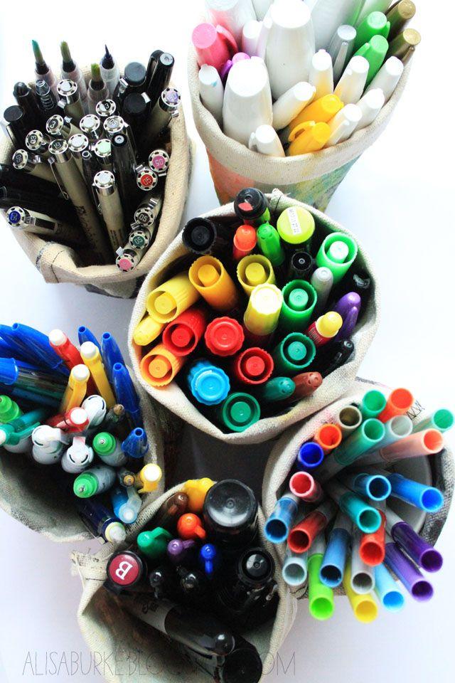 Make these easy holders for pens, pencils, markers, brushes, knitting needles, crochet hooks...: