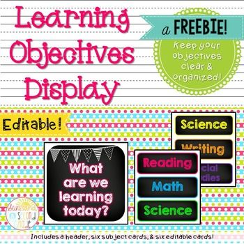 An easy way to display the learning objectives in your classroom for each day! Just cut, laminate
