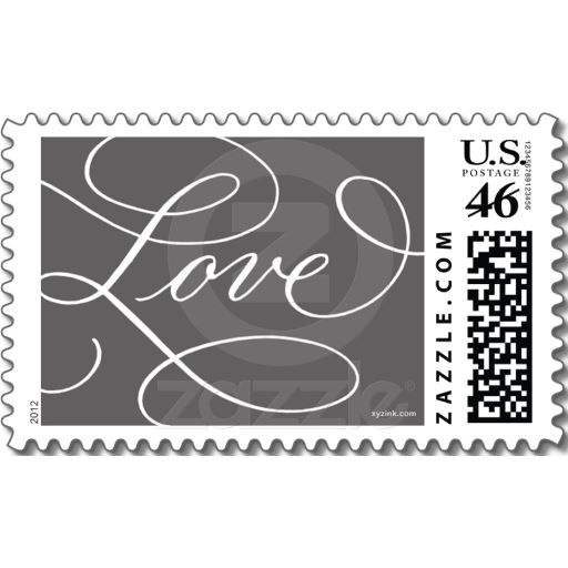 Love ... with a Flourish : Charcoal and White Postage Stamps
