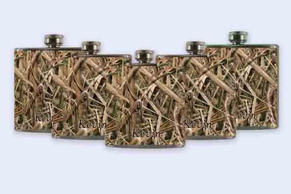 Mossy Oak Camo Mossy oak flask set groomsmen flasks by RKGrace, #mossy oak #wedding