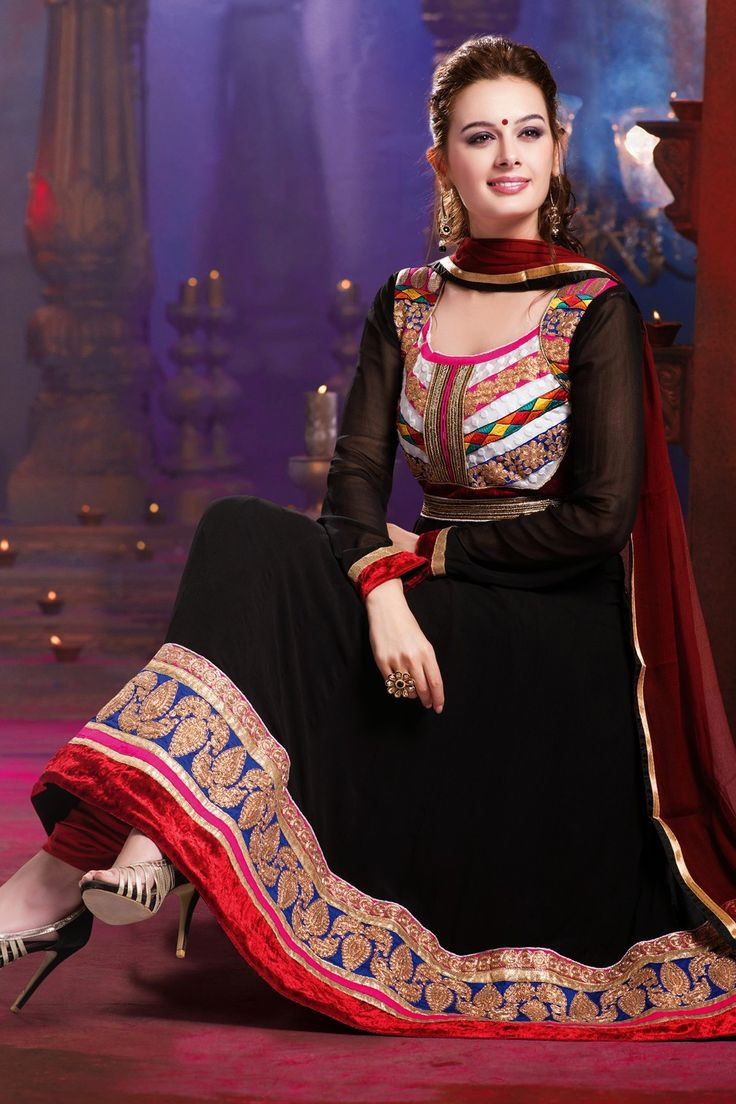 New Arrivals!! #Black Faux Georgette Anarkali Suit with Embroidered and Lace Work Order Now@ http://zohraa.com/evelyn-sharma-suit-black-faux-georgette-anarkali-suit.html Rs. 4,149.