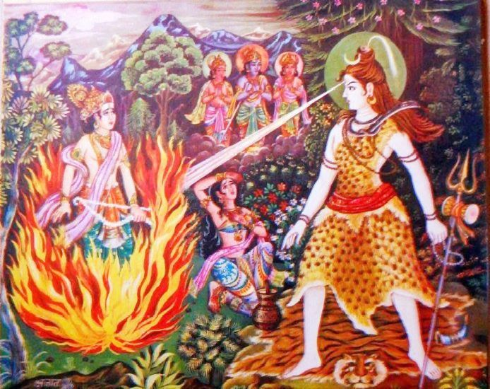 Kamadeva disturbs Lord Shiva's meditation...the third eye of lord Shiva got opened and Kamadeva was reduced to ashes