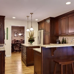 Kitchen Light Wood Floor Dark Cabinets