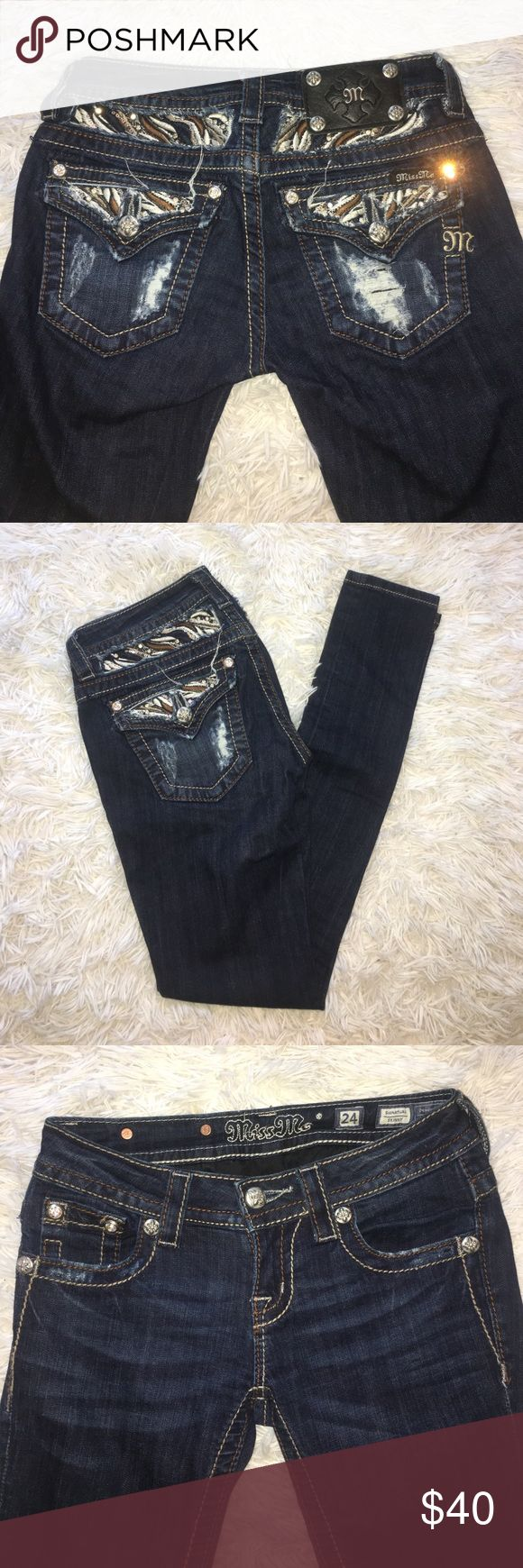 Miss Me Dark Denim Skinny Jeans Amazing condition. Dark Denim Miss Me Skinny Jeans only worn a couple of times! Super cute pocket brown stitching, rhinestones, sequins and hole details. Miss Me Jeans Skinny
