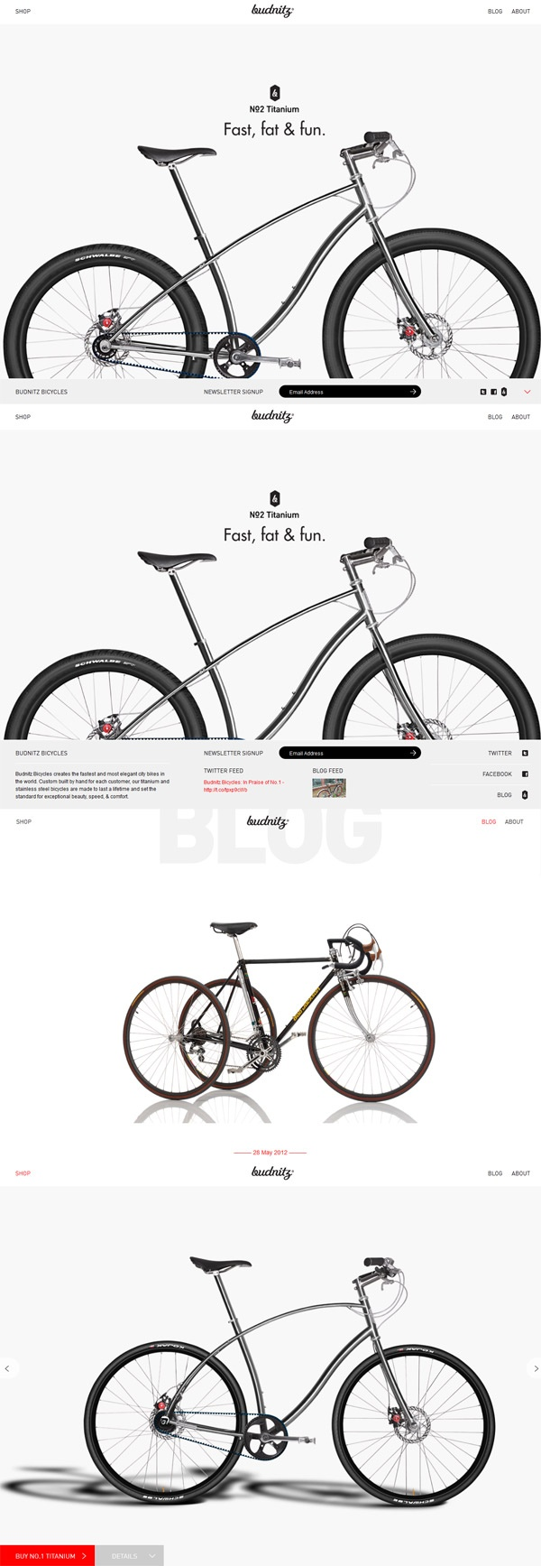 Budnitz Bicycles - Clean Web Design Inspiration