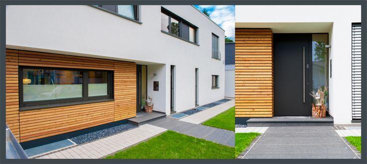 Geradlinige, moderne Architektur besticht durch ihre Materialien. Haustüren mit schlichten, geschlossenen Türblättern unterstreichen diesen Stil ganz besonders gut.
