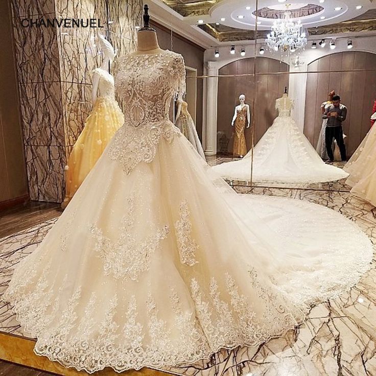 LS66842 latest wedding gown designs with long train ball gown zipper back short sleeves bruidsjurken 2017 real photos  #Affiliate