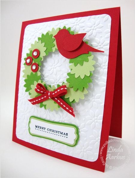 handmade Christmas card ... Christmas Wreath of punched flowers ... love the bright red two-step bird punch on the wreath ... sweet! ... Stampin' Up!