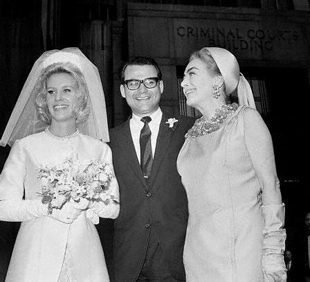 Christina Crawford and her first husband, Harvey Medlinsky, and her mother Joan Crawford.