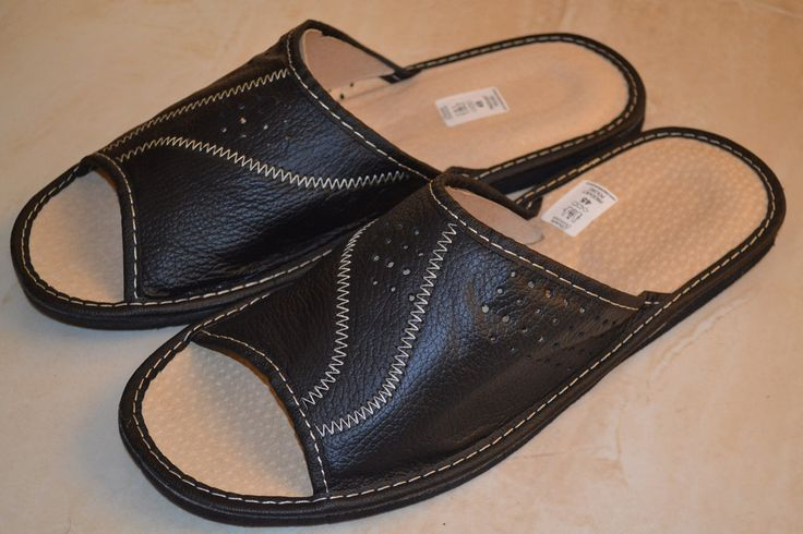 Mens Genuine Black Leather Slippers Handmade Kapcie