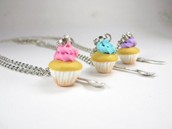 BFF Cupcake Necklace Friendship Necklace (3pcs) Food Jewelry food necklace on Etsy, $18.50