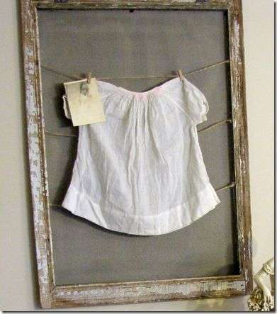 All Things Home: Old Window Screen and Vintage baby dress with old photo. I have my mom's baby dress from 1930 that would work with this idea.