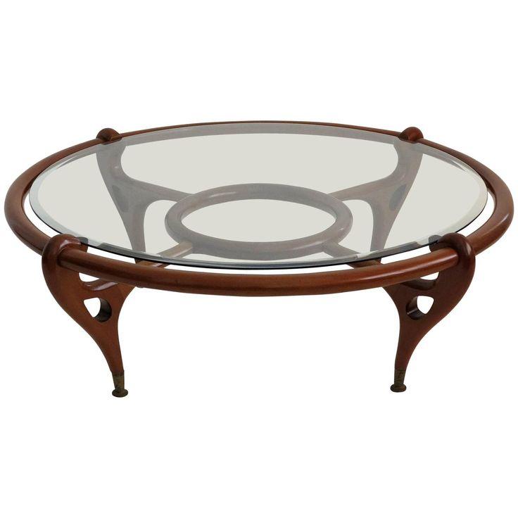 Round Mahogany Coffee Table Attributed To Eugenio Escudero, Circa 1960