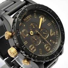 New NIXON Watch Mens 51-30 CHRONO MATTE BLACK GOLD  A083-1041 A0831041