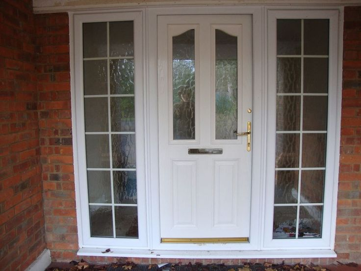 Upvc white half glass front door with frame double - Upvc double front exterior doors ...