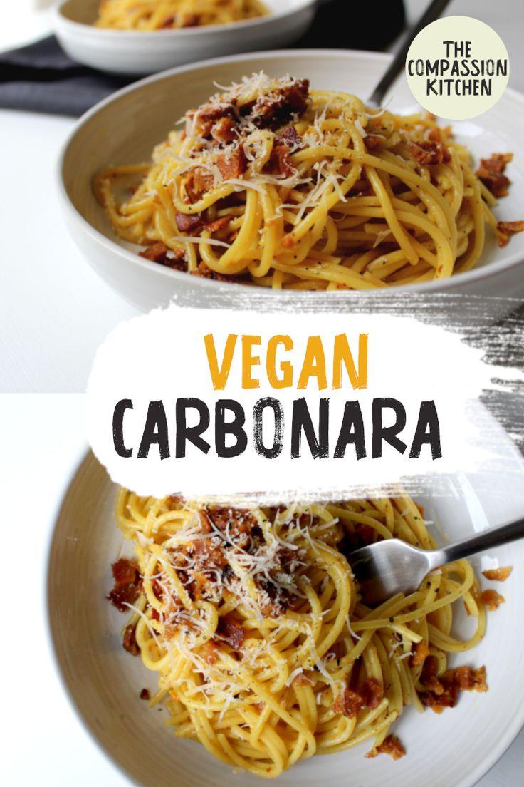 Veganes Carbonara | Das beliebte vegane Nudelgericht mit cremiger Aquafaba-Sauce …