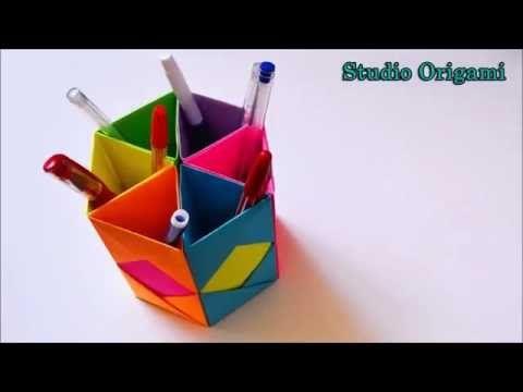 Органайзер для ручек из бумаги. Оригами Organizer for pens from the paper. Origami - YouTube