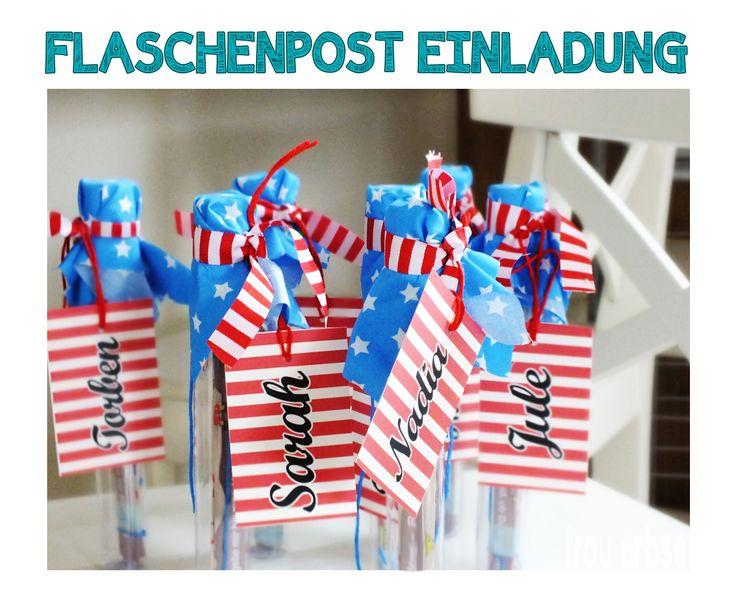 DIY • Flaschenpost  Einladungskarten  • Schatzsuche • Kindergeburtstag • Piratenparty