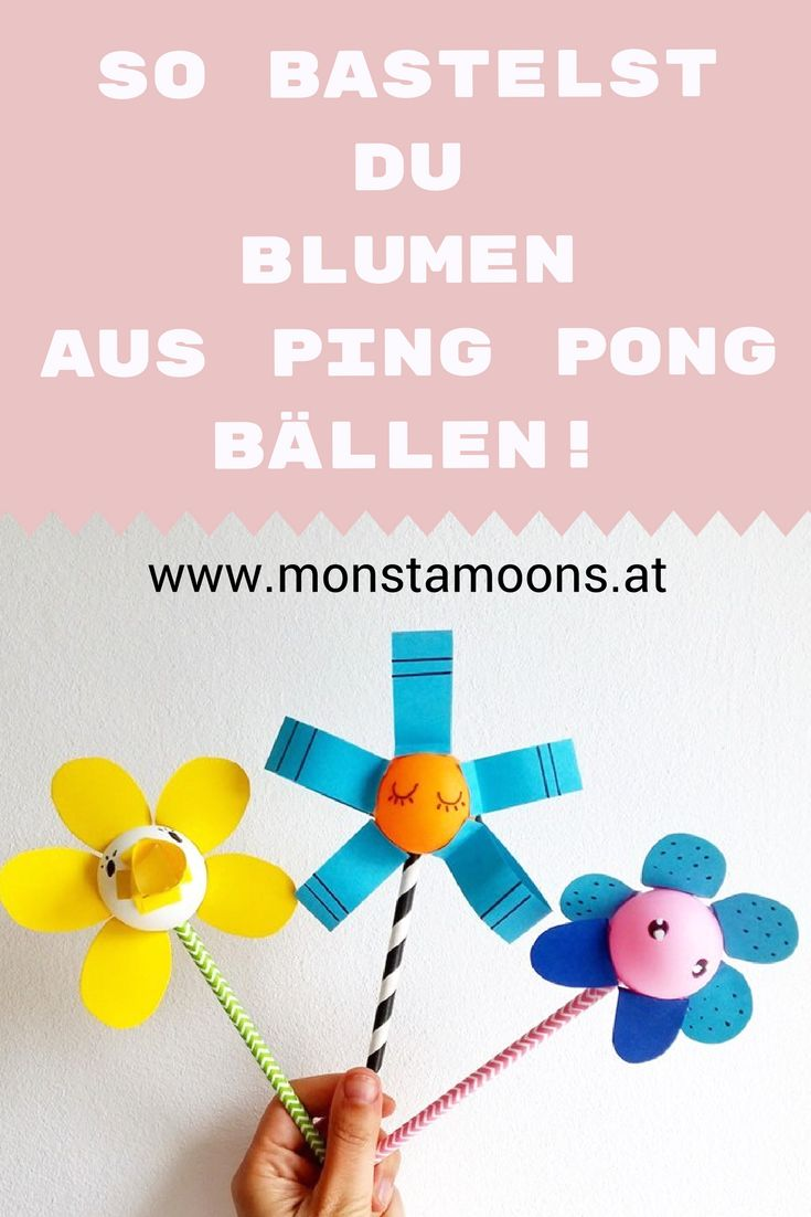 Basteln mit Pin Pong Bällen, Blumen basteln, DIY flowers, flower crafts, ping pong ball crafts, Basteln für den Frühling, spring crafts, Muttertag