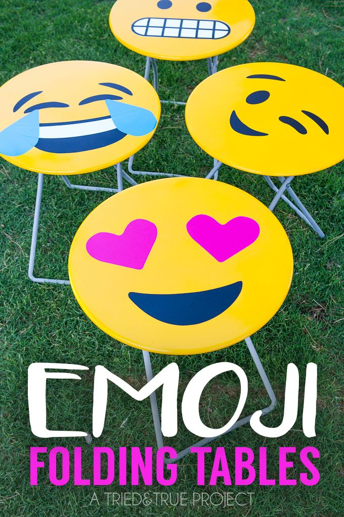 These Emoji Folding Tables are super easy to make with the included free files and @blackanddecker! #PowerForYourStyle #ad