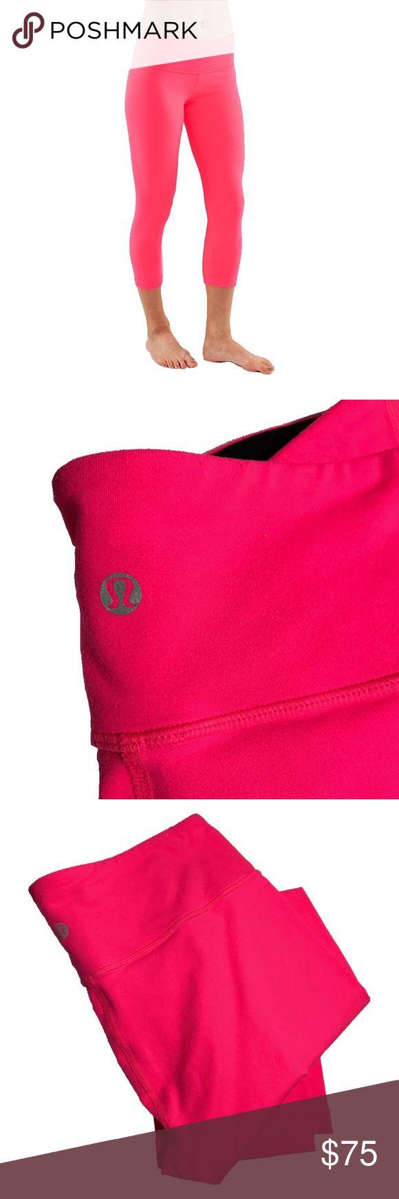 Lululemon Neon Pink Crop Yoga Pants Wonder Under neon brite crop yoga pants. Very good used condition! lululemon athletica Pants Ankle & Cropped