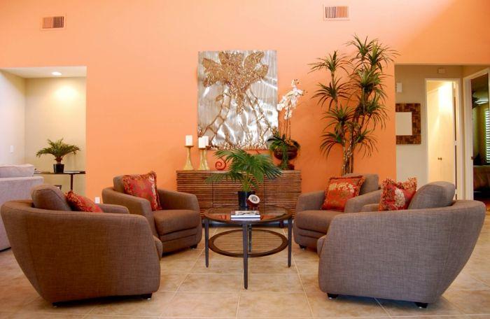 wandfarbe ideen wohnzimmer orange wände pflanzen bodenfliesen