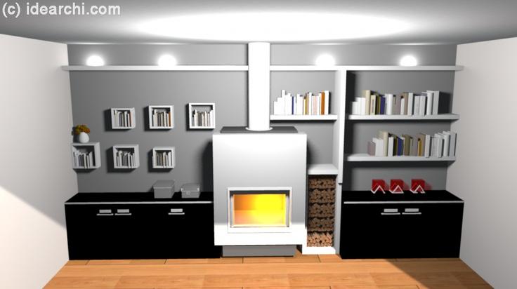Bibliothèque de salon autour d'une cheminée