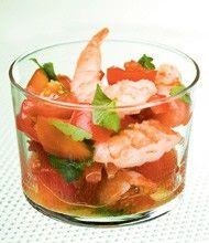 Salsa van tomaat en garnaal