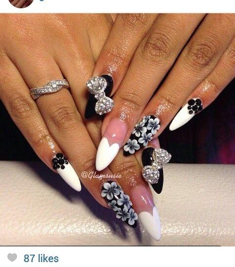 Black and white stiletto nails