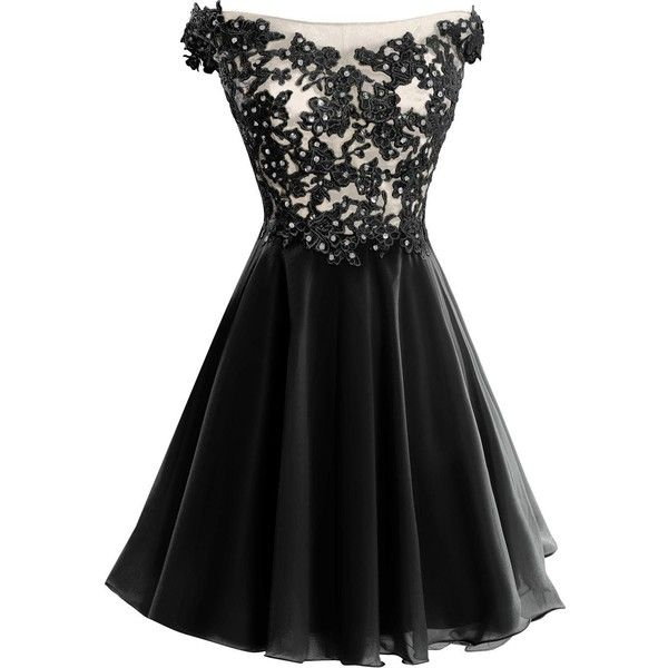 VP Women s Lace Short Prom Gown Homecoming Party Dress with Straps ($80) ❤ liked on Polyvore featuring dresses, black lace dress, lace cocktail dress, black dress, short lace dress and prom dresses