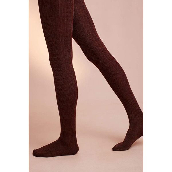 Hansel From Basel Ribbed Wool Tights ($38) ❤ liked on Polyvore featuring red and hansel from basel