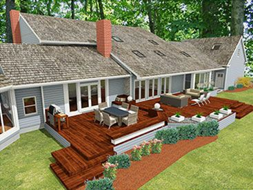 165 best home deck ideas images on pinterest for Patio home plans ranch