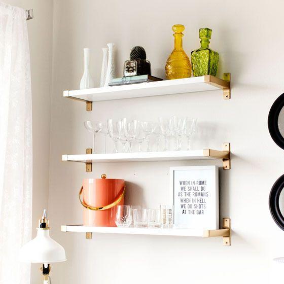 DIY Gold EKBY BJARNUM IKEA Shelves via Melodrama